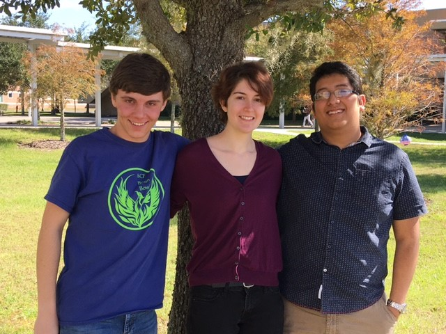 Damien Bobrek, Lacey Anderson and David Espinal comprise SCF's Brain Bowl Team Firebird