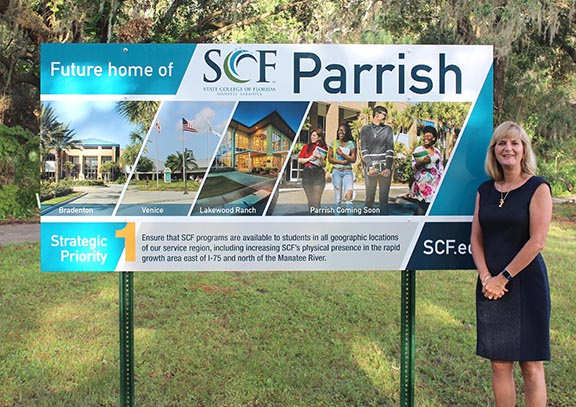 SCF President Dr. Carol Probstfeld at the site of the future SCF Parrish campus