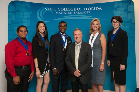 From left Darien Evans, Sofia Paschero, Zabdi Saint-Cyr, Dr. Donald Bowan, vice president student services, Dr. Carol Probstfeld, SCF president, and Marissa Ware. The four students were presented with the Image Award in recognition of their ability to overcome obstacles to their success in college.