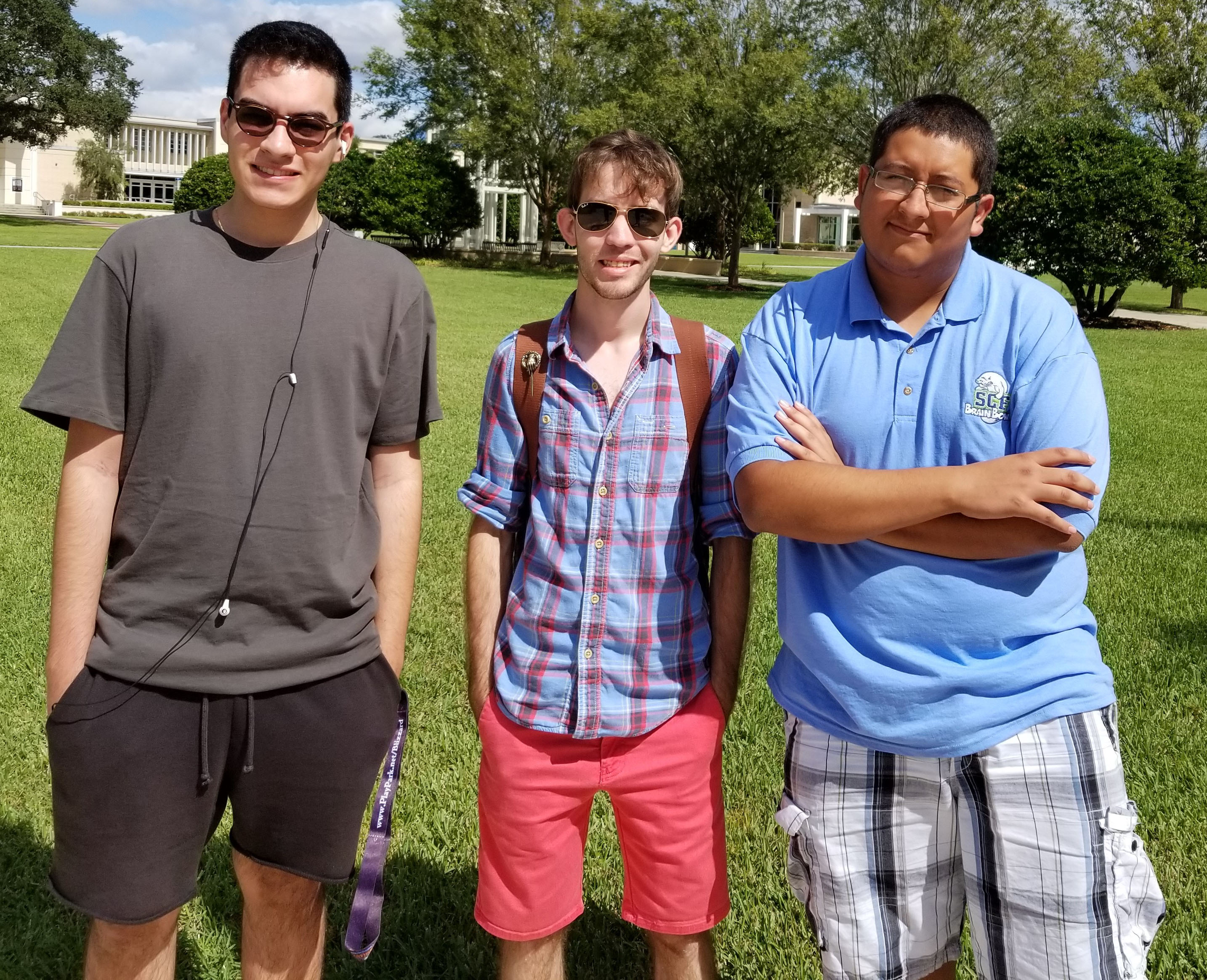 From left: Ariel Rodriguez, Austin Goode, team captain, and David Espinal
