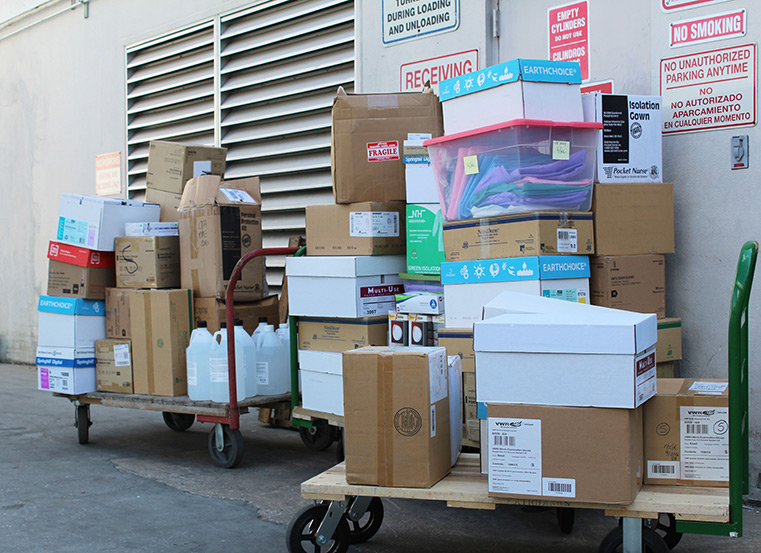 Thousands of PPE supplies delivered to Manatee Memorial Hospital.
