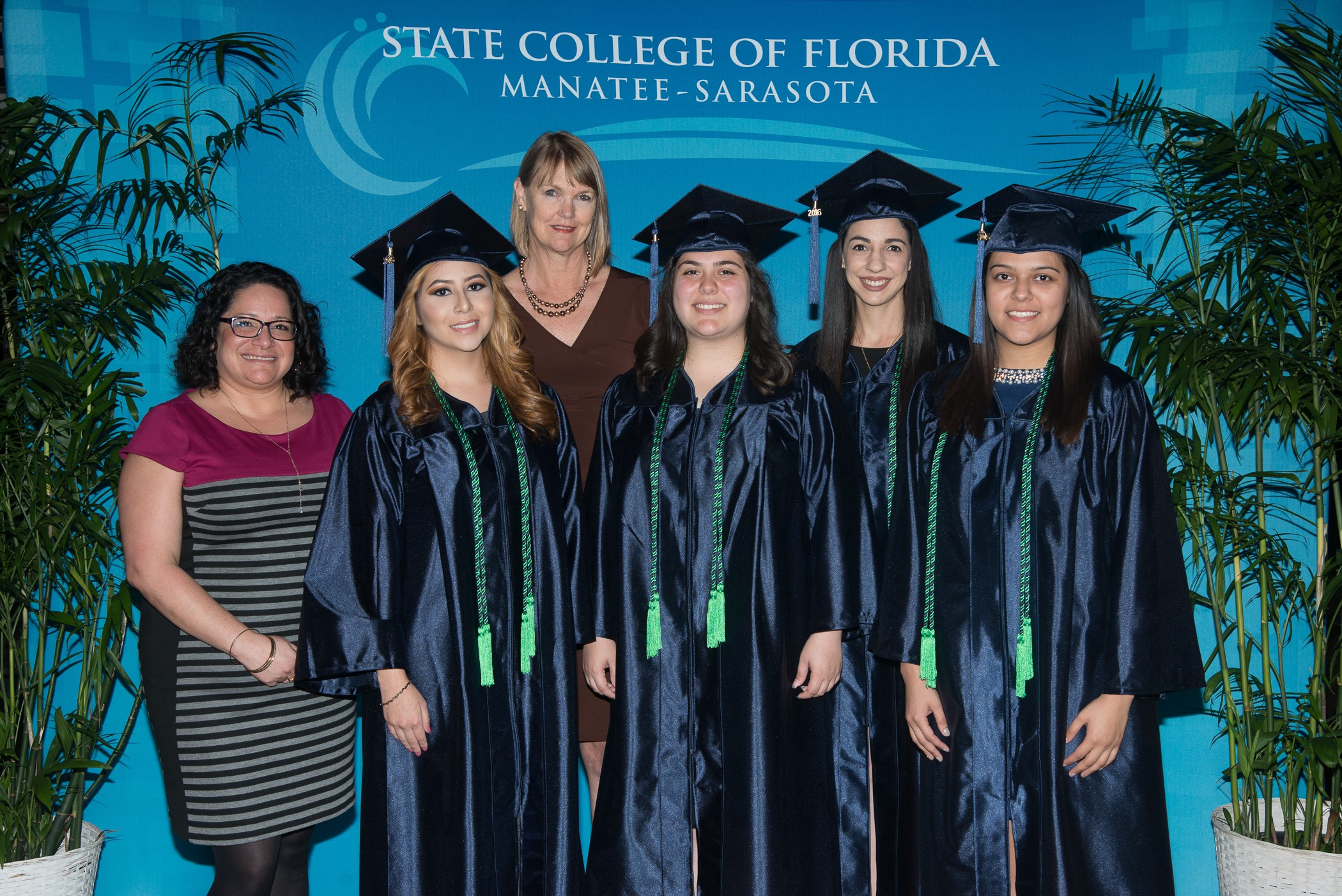 CROP graduates from left Esperanza Martinez-Barrera, Yvette Alanis, Sofia Paschero, and Jessica Trejo are joined by Jessica Torsell, retention specialist for special programs, and Kristen Anderson, program director for special programs, back row.