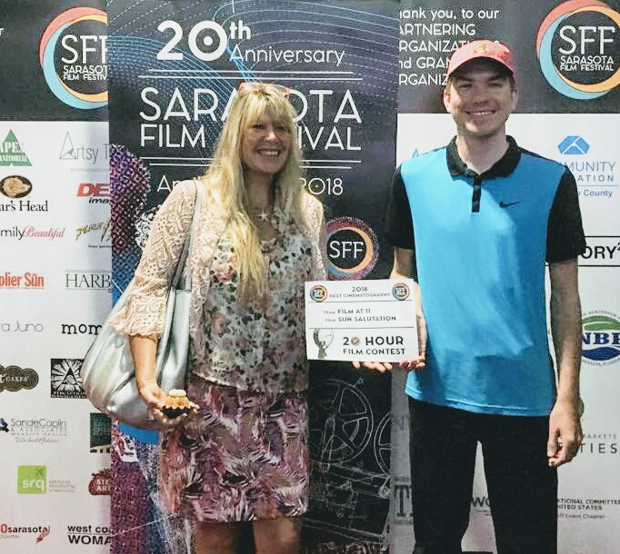SCF students Kim Galway and Connor Dahlman show off their award from the Sarasota Film Festival.