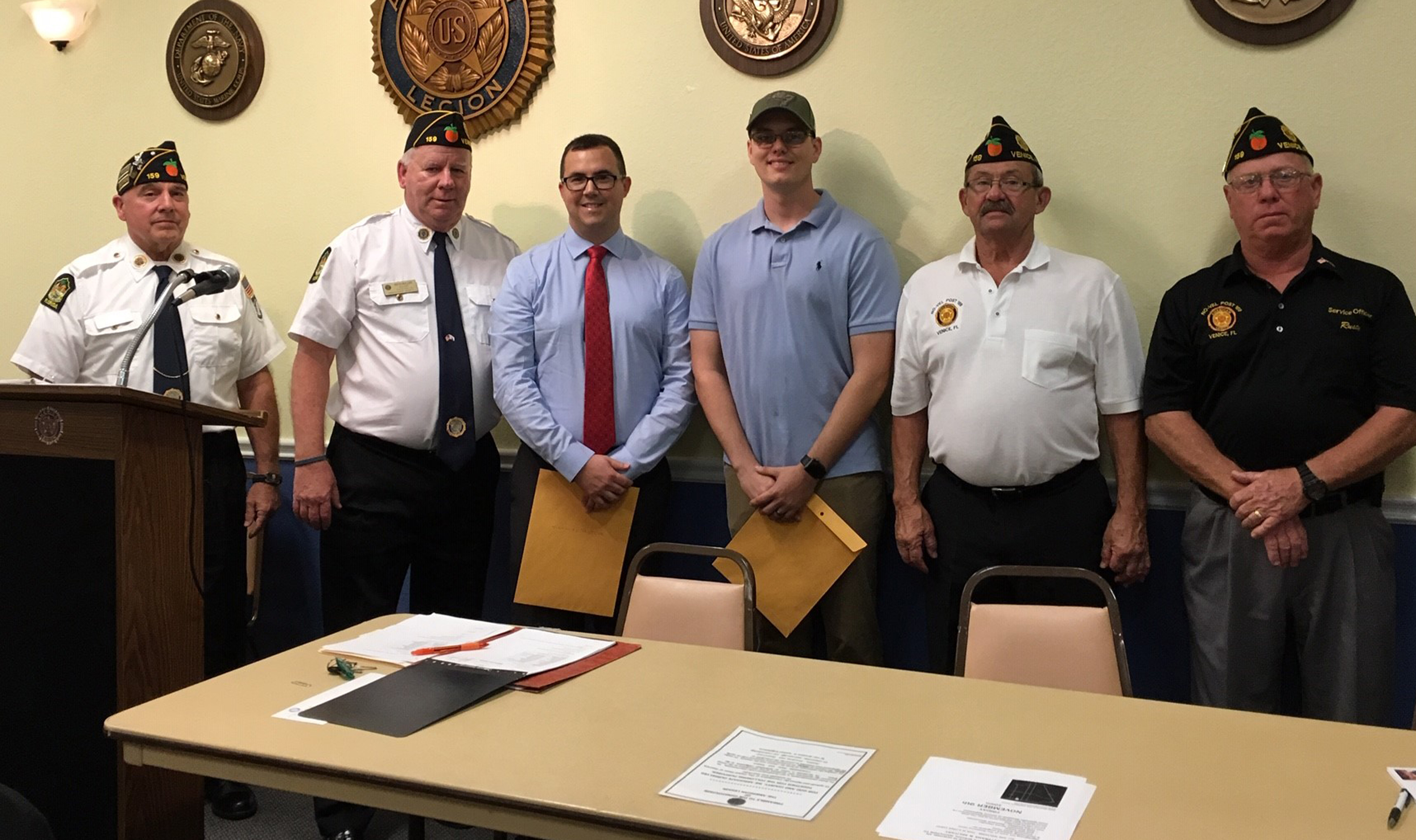 From left: Commander Howard Van Nostrand; Adjutant, Pete Muller; SCF Student Veteran Nicholas Bitler; SCF Student Veteran Jeffrey Guilbault Jr.; Services Officers, Frank Noren and Rusty Weatherhead.