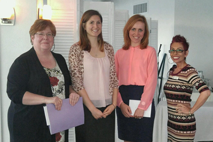 (from left) Amy J. Schaffer, of Grossman Roth and Partridge, Iulliia Danilovitz, Elena Esposito SCF paralegal/legal assisting students, and Eva N. Gonzalez, of Shapiro, Goldman, Babboni & Walsh.