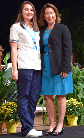 Arianna Orozco-Schedlen, Pat Kuebler Memorial Scholarship winner, with Cassandra Holmes, executive director of the State College of Florida Foundation.