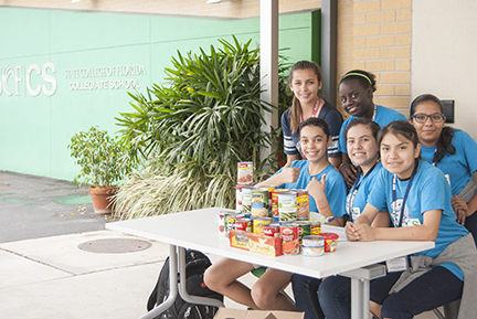 SCF Collegiate School 7th-graders held a food drive as part of their Global Citizenship Initiative. Back row from left: Gabbrielle Fasanelli, Hannah Rolle and America Garcia; front row, from left:  Samantha Taylor, Leysi Lopen and Sandra Salitre.