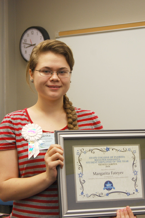 2. Margarita Fateyev, Career Resource Center Venice, was honored as the Student Employee of the Year for SCF Venice.