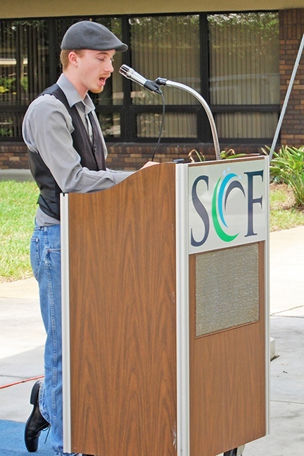 Tim Nail, vice president of student government at SCF Venice campus participates in a poetry and spoken word open mic presented by the Swamp Scribes, a language and literature club, earlier this month.