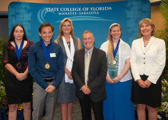 : From left Michelle Calhoun, David Burrell, SCF President Dr. Carol Probstfeld, Dr. Donald Bowman, vice president student services, Megan Finsel and Darlene Wedler-Johnson, Venice CEO. The three students were presented with the Image Award in recognition of their ability to overcome obstacles to their success in college.