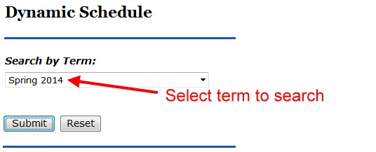 Select Term on Course Schedule