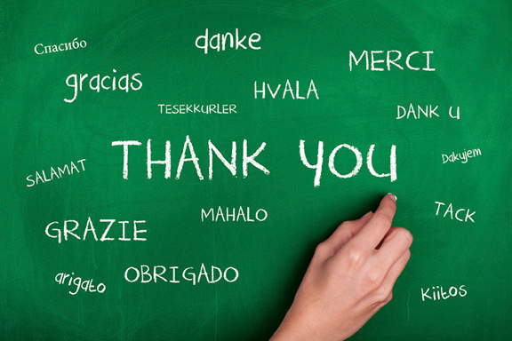 Chalkboard with Thank You written in many languages