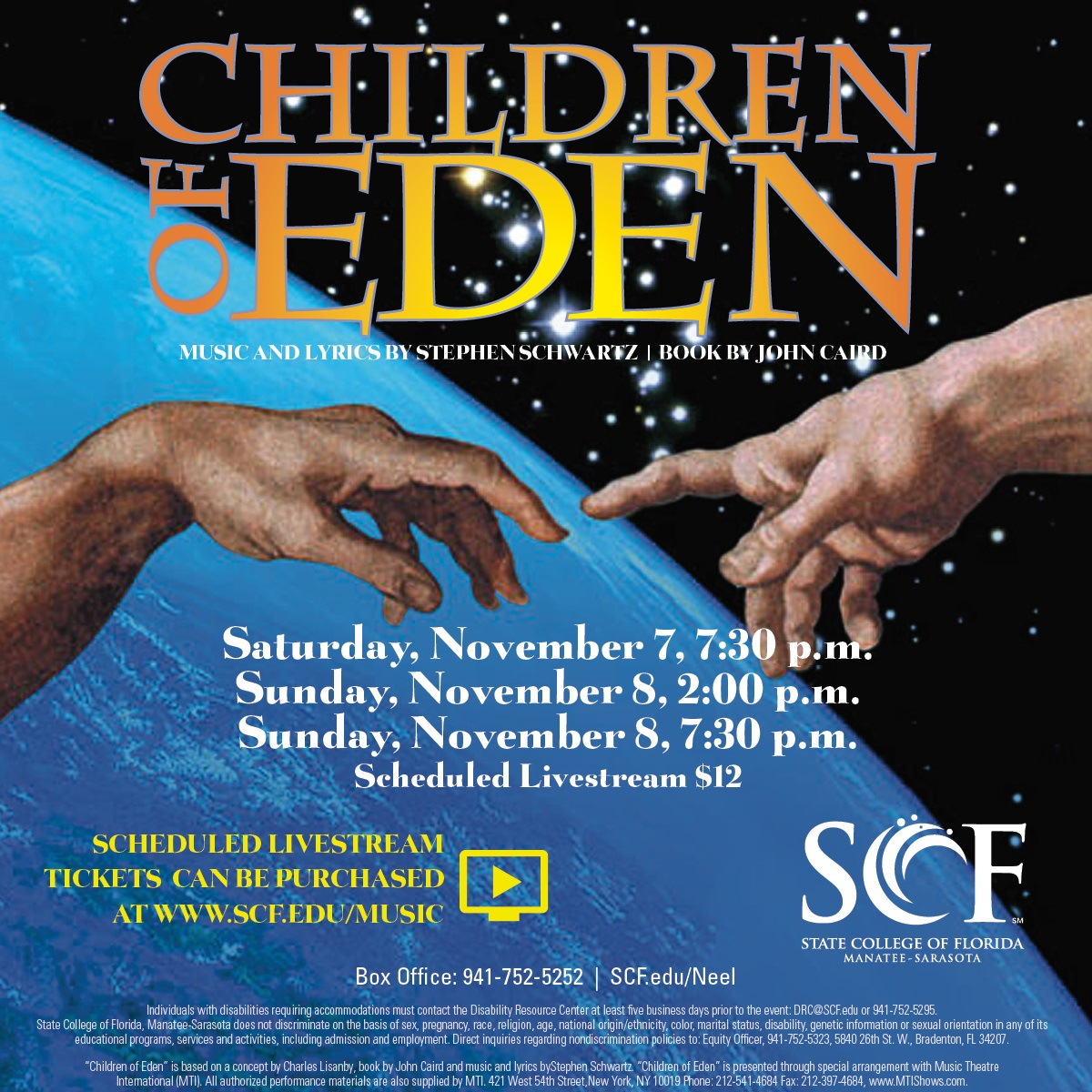 Children of Eden poster - Nov 7 at 7:30pm, Nov 8 at 2pm and 7:30 pm. $12 Livestream.